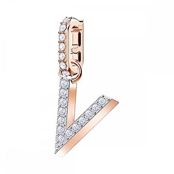 Swarovski Remix Rose Gold Tone Plated & White Crystal Letter V Charm