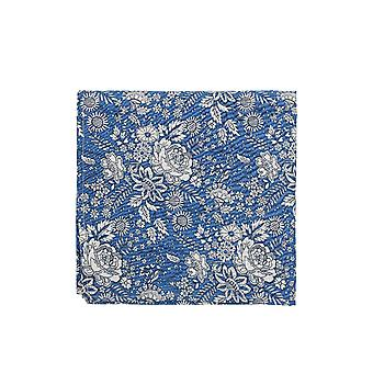 ブルー&ホワイト リバティ アート ファブリック フローラル プリント ポケット スクエア