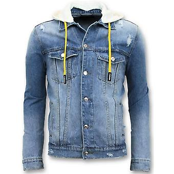 Denim Jacket - Ripped With Hood - Blue