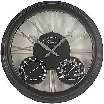 """Outdoor/Indoor Garden Wall Clock Thermometer & Humidity Gauge Atluna Black 15"""""""