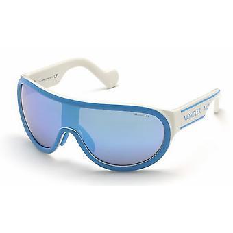 Moncler ML 0106 84X Shiny Light Blue/Blue Mirror Sunglasses