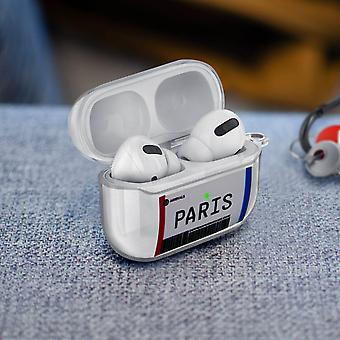 Paris Boarding Pass Soft Airpods tok fedél Anti-Scratch Carabiner- Átlátszó