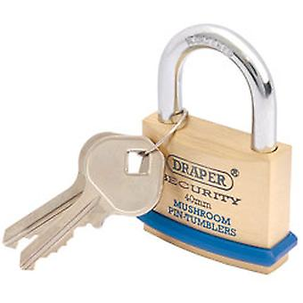 Draper 64161 40mm Solid Brass Padlock & 2 Keys - Hardened Steel Shackle & Bumper