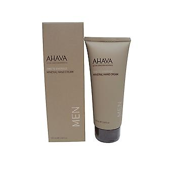 AHAVA Time to Energize Mineral Hand Cream for Men, 3.4 fl. oz.