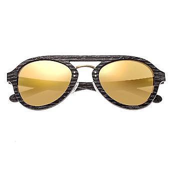 Earth Wood Cruz Polarized Sunglasses - Black Stripe/Gold
