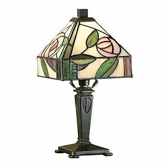 1 Light Mini Table Lampe Dunkle Bronze, Tiffany Style Glas