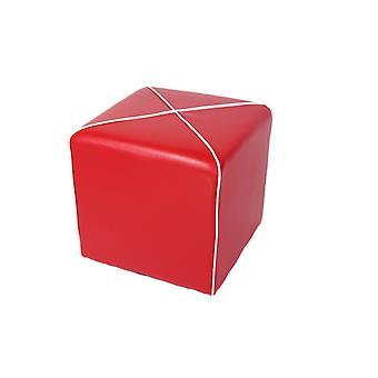 Pouf Romeo Color Rosso, Bianco in PU 47x47x44,5 cm