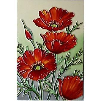 YH Arts Ceramic Wall Art, Red Poppies 8 x 12""