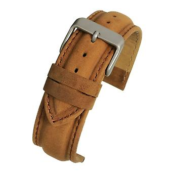 Suede light brown padded watch strap