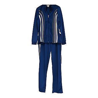 Masseys Frauen's Kontrast-gestreifte Reißverschluss Vorne Top w/Hose Track Anzug blau