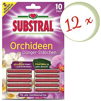 Sparset: 12 x SUBSTRAL® fertilizer rods for orchids, 10 pieces