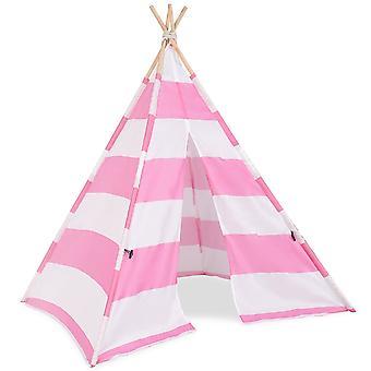 Kids Teepee Indian Wooden Play Tent Children Canvas Playhouse Indoor Outdoor