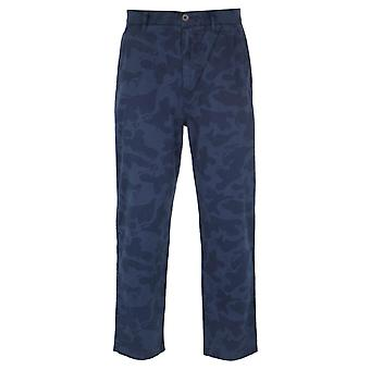 Farah Relaxed Tapered Fit Navy Camo Chino Broek