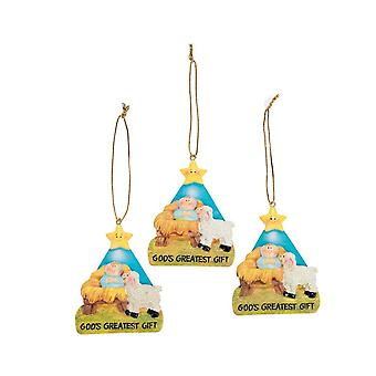 12 God's Greatest Gift Nativity Hanging Bauble Christmas Tree Decorations