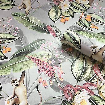 Animal Garden Floral Wallpaper Grijs Belgravia 5500