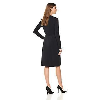 Lark & Ro Frauen's Signatur Langarm wickeln Kleid, schwarz, klein