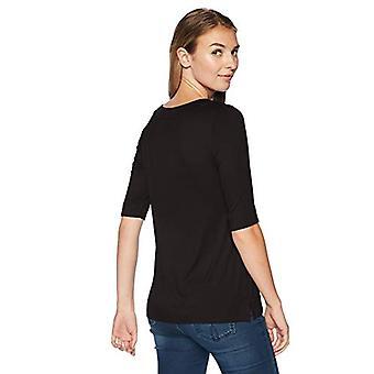 Brand - Lark & Ro Women's Elbow-Sleeve Boat Neck Shirt, Black, Large