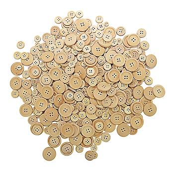 440 Assorted Natural Unpainted Wooden Buttons for Arts & Crafts