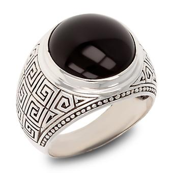 ADEN Effet antique 925 Sterling Silver Onyx Biker Ring (id 3955)