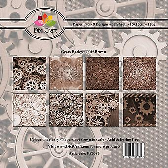 Dixi Craft 6x6 Inch Paper Pack Gears Achtergrond - Bruin