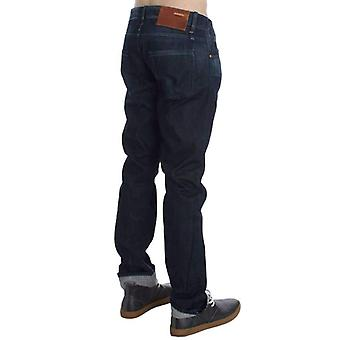 Blue Wash Cotton Regular Straight Fit Jeans -- SIG3348997