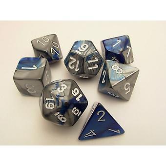 Chessex Gemini Polydice Set - Blue-Steel/white