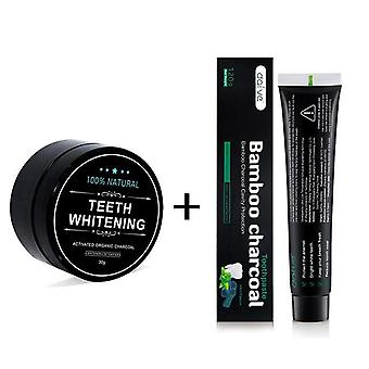 Teeth Whitening Kit Toothpaste Powder Activated Coconut Charcoal Powder Bamboo With Toothbrush For Oral Hygiene