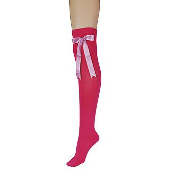 Women's Fuchsia Pink With Bow Over The Knee High Costume Socks 4-6 UK