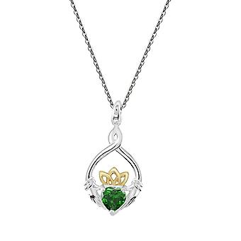 Heritage Sterling Silver Claddagh Heart Knot Gold Plate & Green Cubic Zirconia Pendant