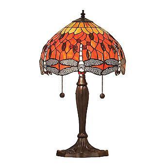 2 lichte kleine tafellamp donker brons, rood, Tiffany Stijl Glas, E27
