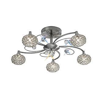 inspirert diyas - cara - flush tak 5 lys sateng nikkel, krystall