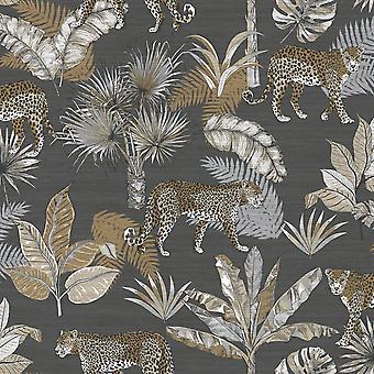 Jungle Fever Leopard Wallpaper Charcoal GranDeco JF2103