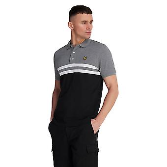 Lyle & Scott Yoke Stripe Polo Shirt - Mid Grey Marl