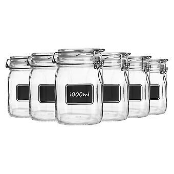 Bormioli Rocco 6pc Lavagna Glass Storage Jar Set with Chalkboard Labels - Food Pasta Jam Preserving Jars - 1L
