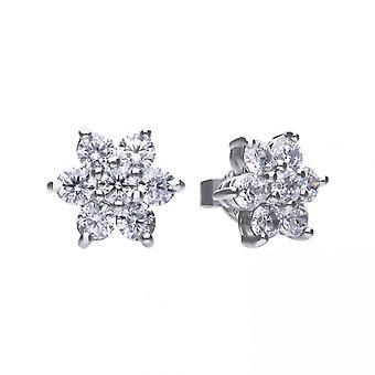 Diamonfire Silver White Zirconia Flower Cluster Earrings E5624