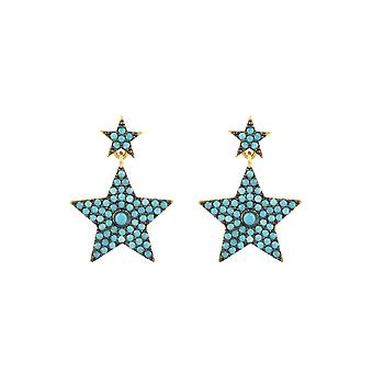 Star Double Drop Earrings White Yellow Gold Bridal Gift Blue Turquoise Gemstone