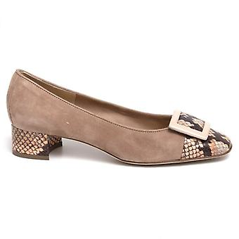 Luca Grossi Cipria Suede and Python Women's Shoe