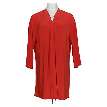 Nina Leonard Women's Sweater Cardigan W/ Back Zipper & Chiffon Red 703-537