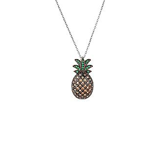 Large 925 Sterling Silver Colourful Pineapple Fruit CZ Gemstone Pendant Necklace