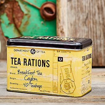 Tea rations tea tin with 40 english breakfast teabags