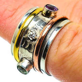 Blue Topaz, Anel de Cobre Ametista 6.75 (925 Sterling Silver) - Handmade Boho Vintage Jewely RING39132
