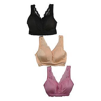 Rhonda Shear Pink/Beige/Black Bra Set Wire Free Polyester 689-752