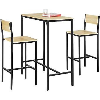 SoBuy OGT03-L-N, Bar Set-1 Bar Table and 2 Stools, 3 Pieces Home Kitchen Breakfast Bar Set