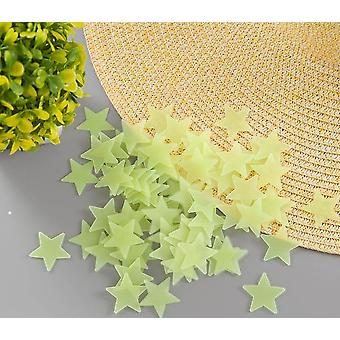 100pcs 3d Stars Glow In The Dark Stickers Autocollants fluorescents lumineux