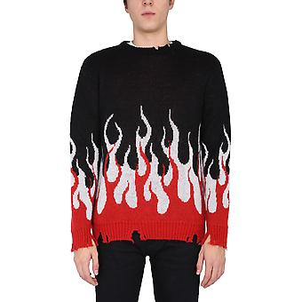 Vision Of Super Vosb8doubleblack Men's Black Acrylic Sweater