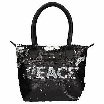 Depesche 10611 Handtasche mit Pailletten Trend Liebe und Frieden schwarz