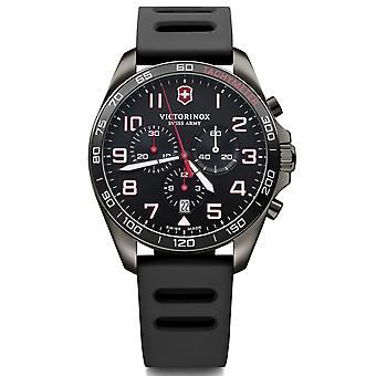 Victorinox Swiss Army 241889 Fieldforce Red & Black Rubber Chronograph Men's Watch