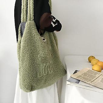 Tessuto agnello, borsa in tela a tracolla e borse per la spesa con ricamo tote
