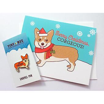 Corgi emalje pin og julekort pakke