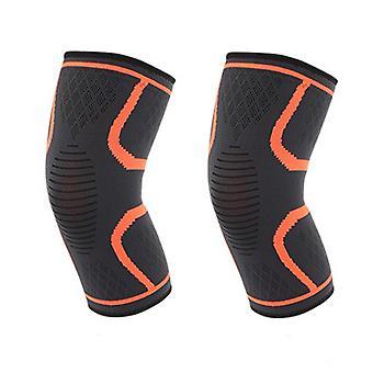 LSize Naranja Longitud 27cm Nylon Latex Spandex Profesional Sports Grade Rodilleras